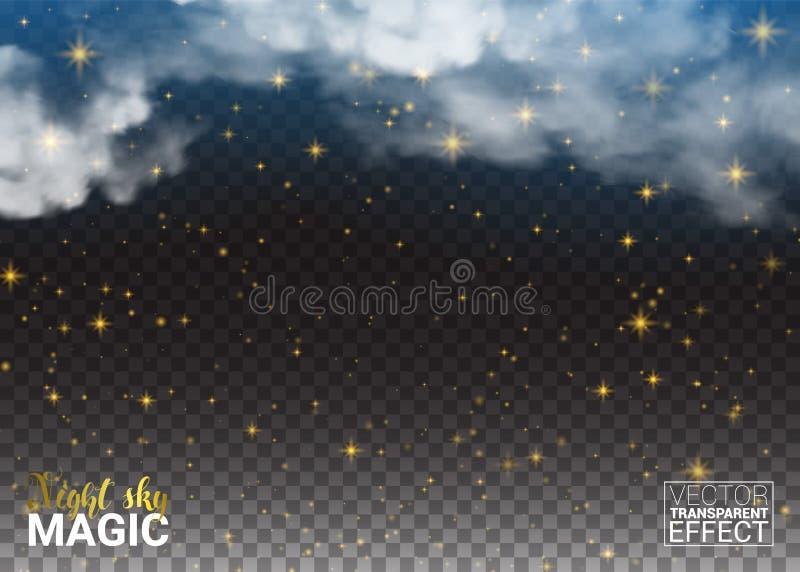 Estrellas y nube de la magia del cielo nocturno Espacio brillante del ambiente del diseño Fondo transparente del extracto del eje stock de ilustración