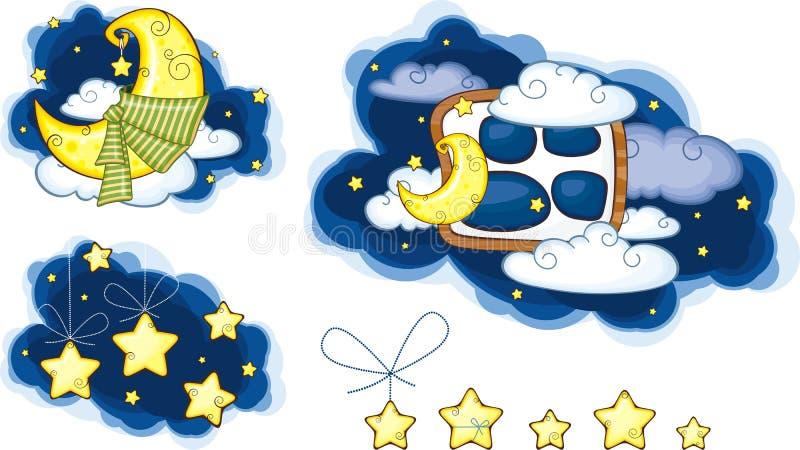 Estrellas y nubes de la luna ilustración del vector