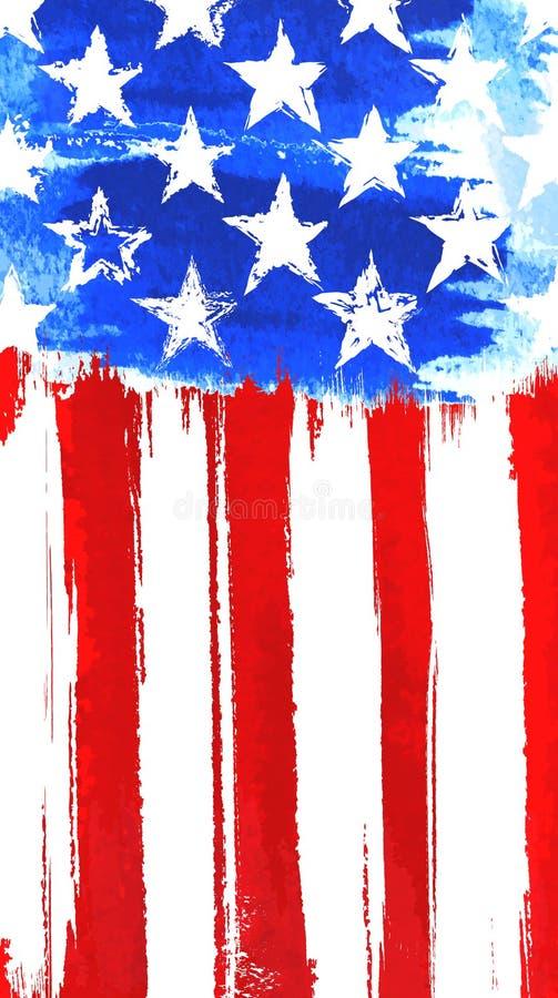 Estrellas y pintura vertical americana de las rayas, cartel stock de ilustración