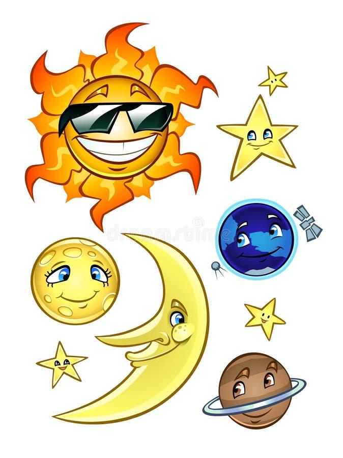 Download Estrellas Y Planetas De La Luna De Sun Ilustración del Vector - Ilustración de cómodo, celestial: 42431339