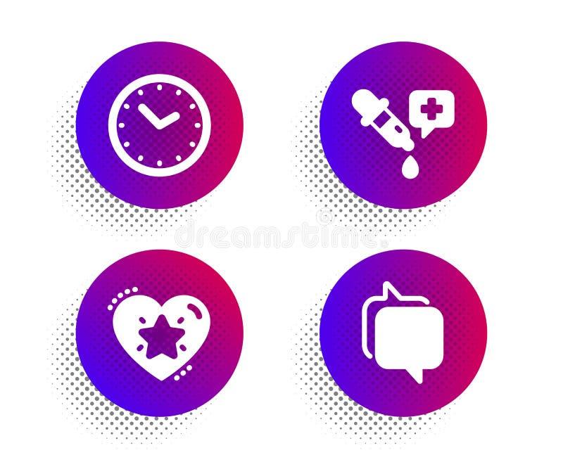 Estrelo de classificação, conjunto de ícones de pipeta Time and Chemistry sinal do Messenger Classificação de amor, Relógio, Labo ilustração do vetor