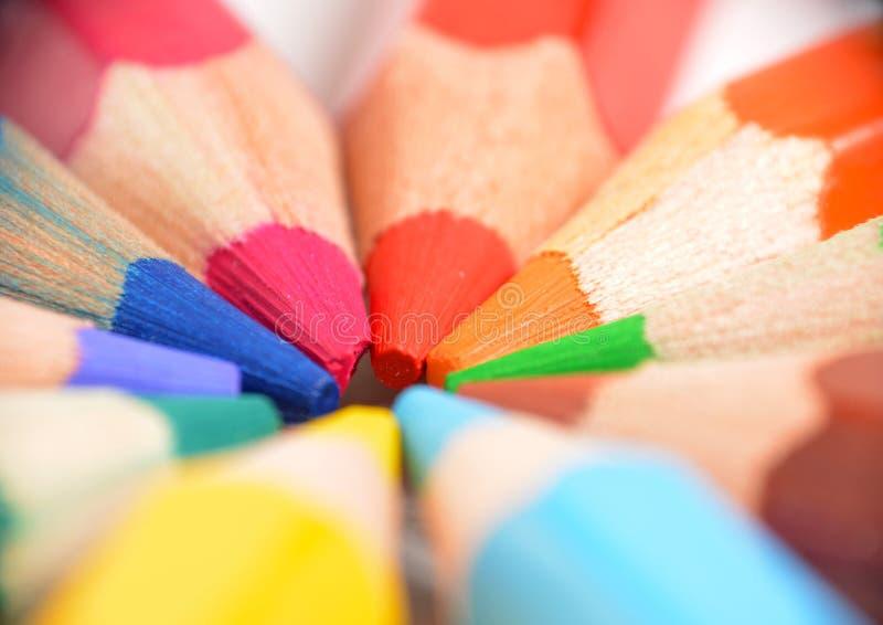 Estrema macro di matite colorate immagini stock