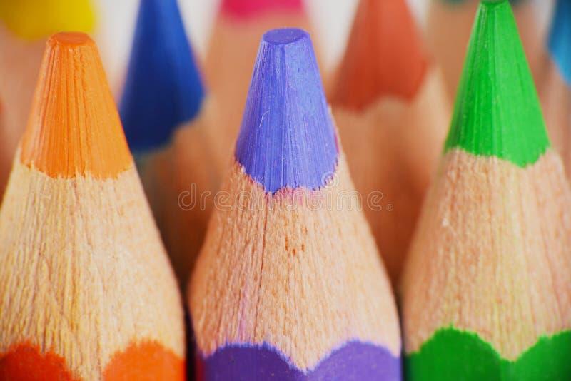 Estrema macro di matite colorate fotografie stock
