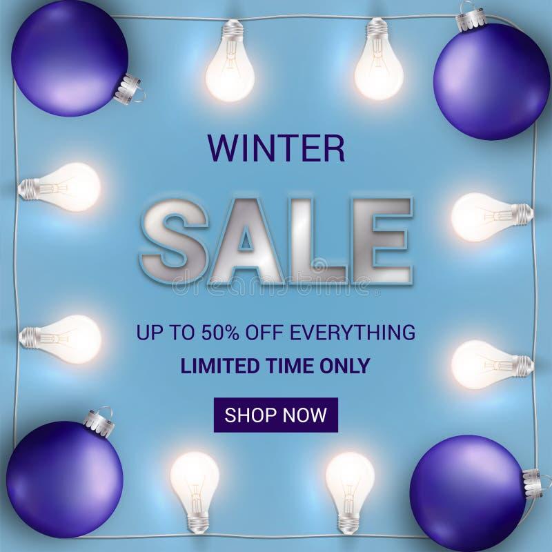 estremità dell'insegna di vendita di stagione con le luci e le lampadine di Natale royalty illustrazione gratis