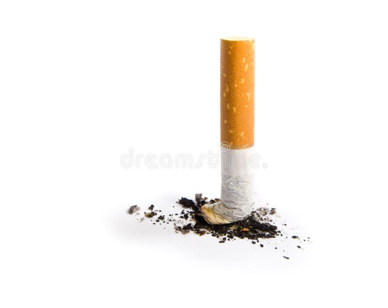 Estremità di sigaretta isolata su bianco immagine stock