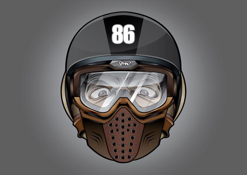 Estremo di sport della bici del motociclo antidetonante del casco del casco grande illustrazione di stock