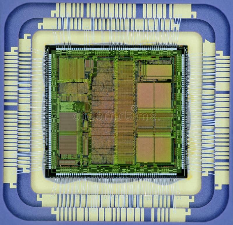 Estremo vicino su del microprocessore del silicio fotografia stock libera da diritti