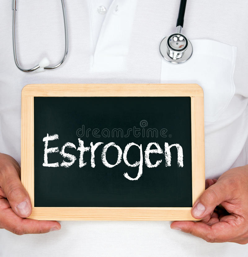Estrogen, doctor holding chalkboard with text royalty free stock photos