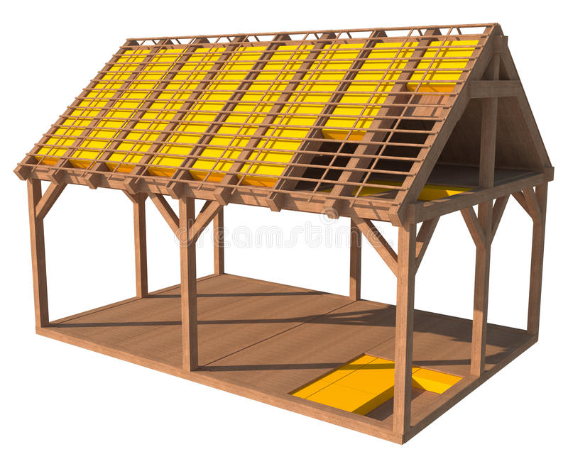 estructura 3D de la casa con el aislamiento térmico ilustración del vector