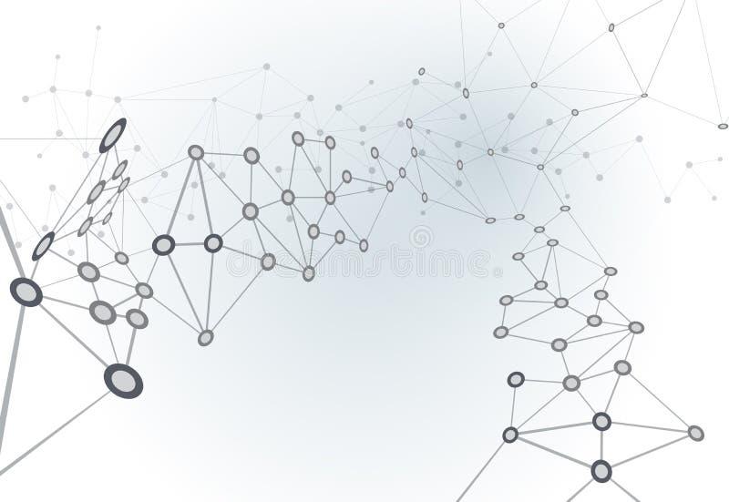 Estructura abstracta de la molécula en fondo gris claro del color Vect stock de ilustración