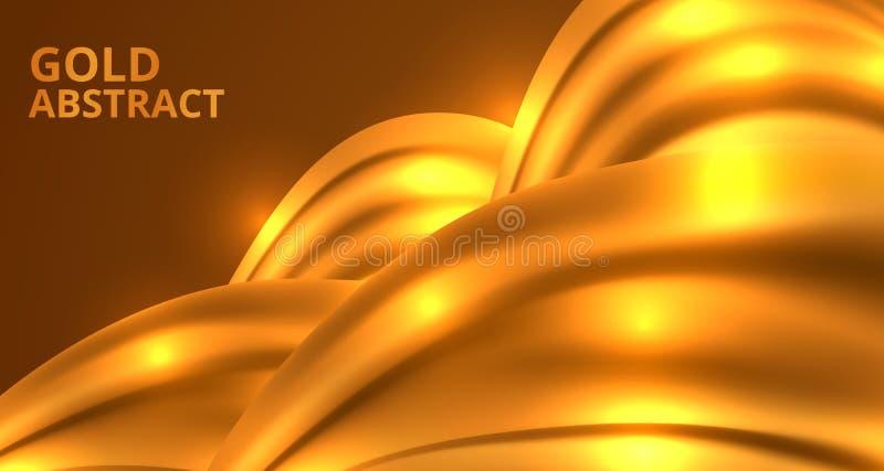 Estructura abstracta del resplandor de oro de la plantilla lujosa del fondo del encanto de la materia textil de la tela stock de ilustración