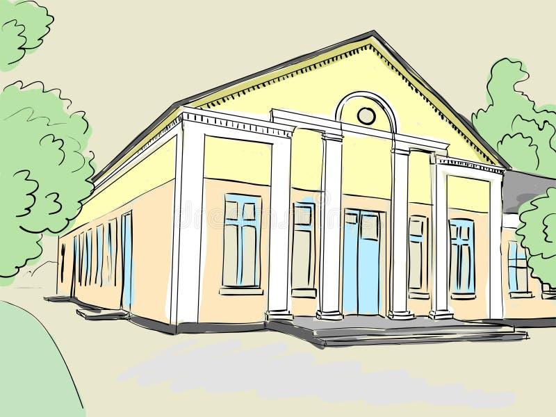 Estructura arquitectónica con las columnas Escuela vieja, club, casa de la cultura libre illustration