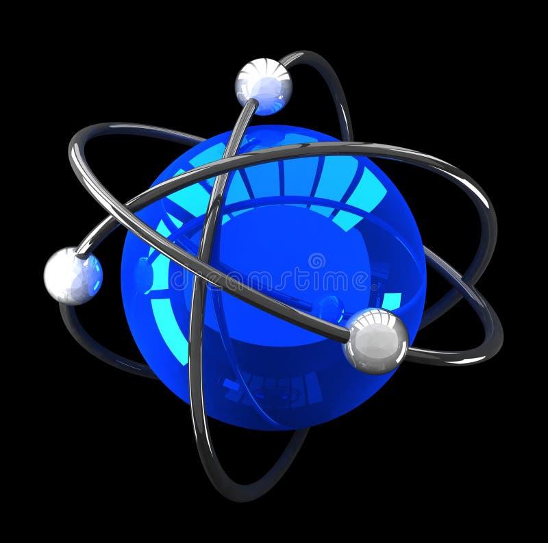 Estructura atómica reflexiva azul en negro ilustración del vector