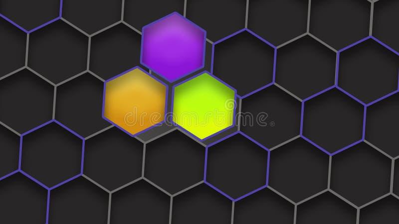 Estructura azul geométrica Contexto ccolorful abstracto de los hexágonos con la luz Imagen del panal Background ilustración del vector