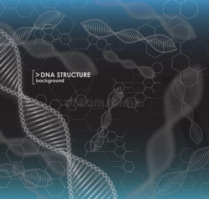 Estructura blanco y negro de la DNA del fondo stock de ilustración