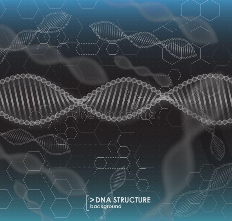 Estructura blanco y negro de la DNA del fondo ilustración del vector