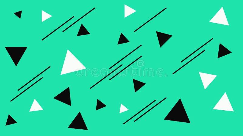 Estructura blanco y negro de los triángulos Triángulos abstractos en el contexto de la turquesa Fondo de la turquesa libre illustration