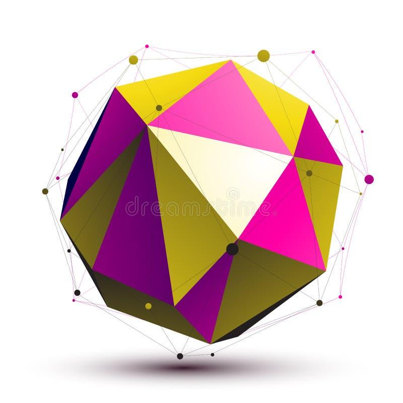 Estructura colorida del extracto 3D, figura orbed de la red del vector ilustración del vector