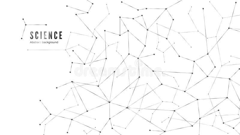 Estructura compleja de los nodos de red Conexión de datos del plexo Puntos y l?neas fondo Ilustraci?n del vector stock de ilustración