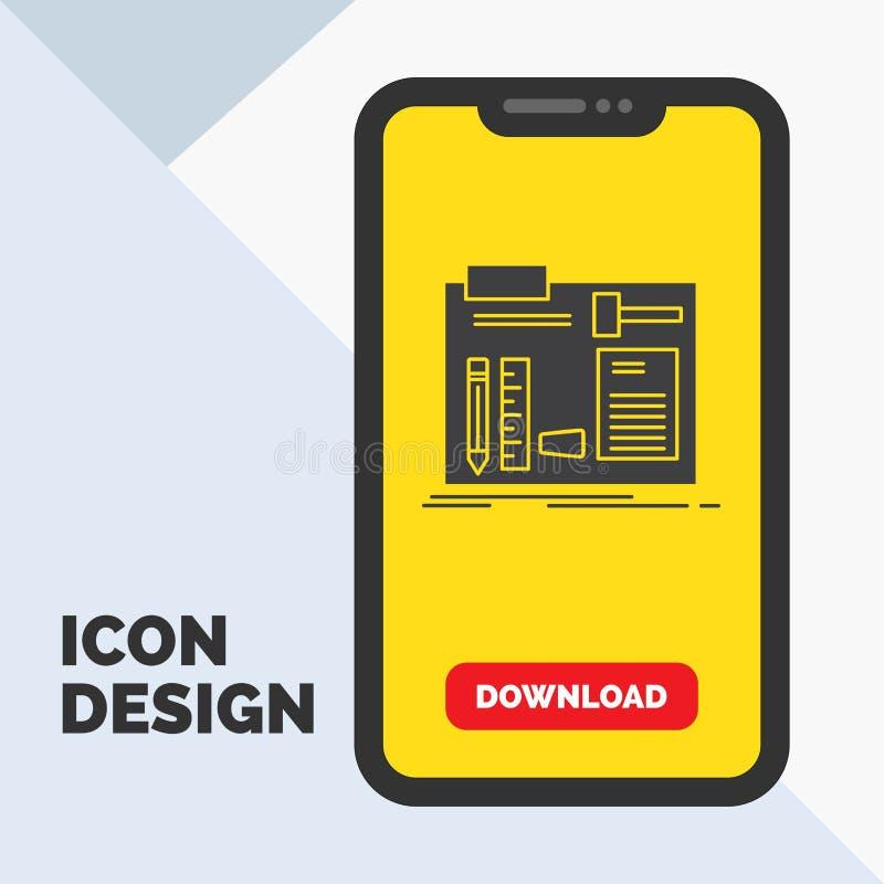 Estructura, construcción, diy, ingeniero, icono del Glyph del taller en el móvil para la página de la transferencia directa Fondo stock de ilustración