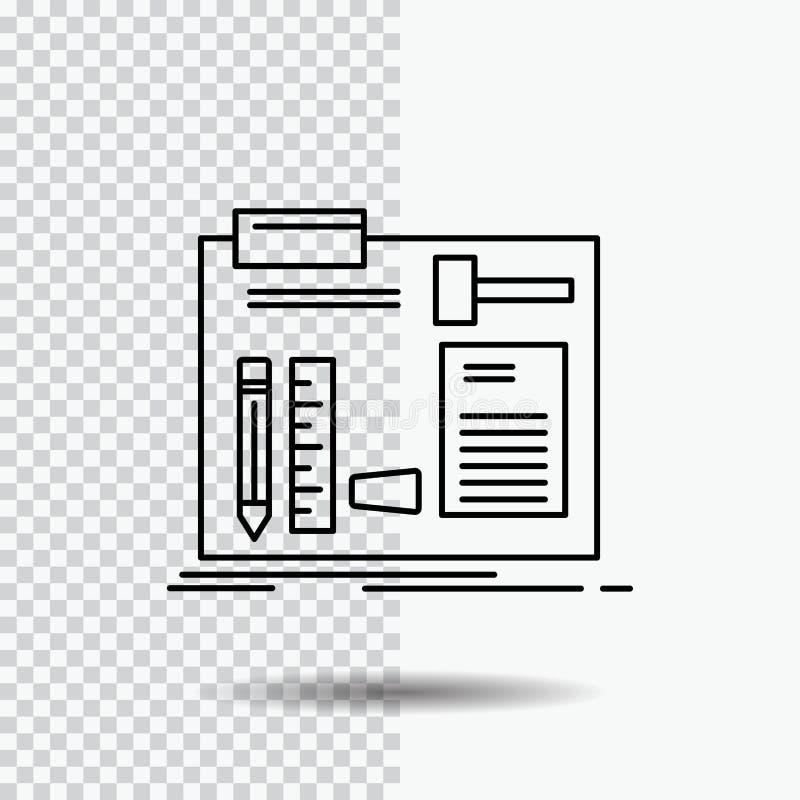 Estructura, construcción, diy, ingeniero, línea icono del taller en fondo transparente Ejemplo negro del vector del icono stock de ilustración