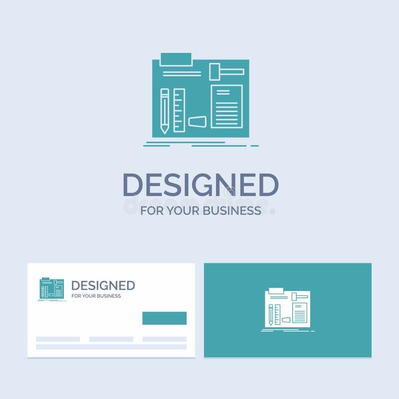 Estructura, construcción, diy, ingeniero, negocio Logo Glyph Icon Symbol del taller para su negocio Tarjetas de visita de la turq ilustración del vector