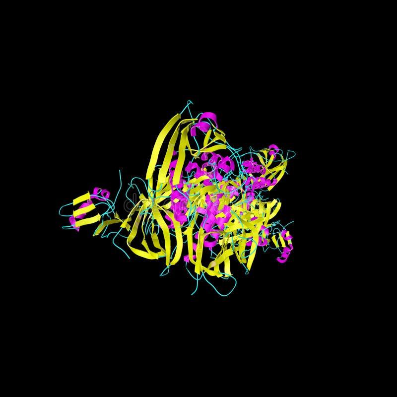 Estructura cristalina de la toxina de la tosferina producida por la bacteria bordetella pertussis Fondo cient?fico ilustraci?n 3D libre illustration