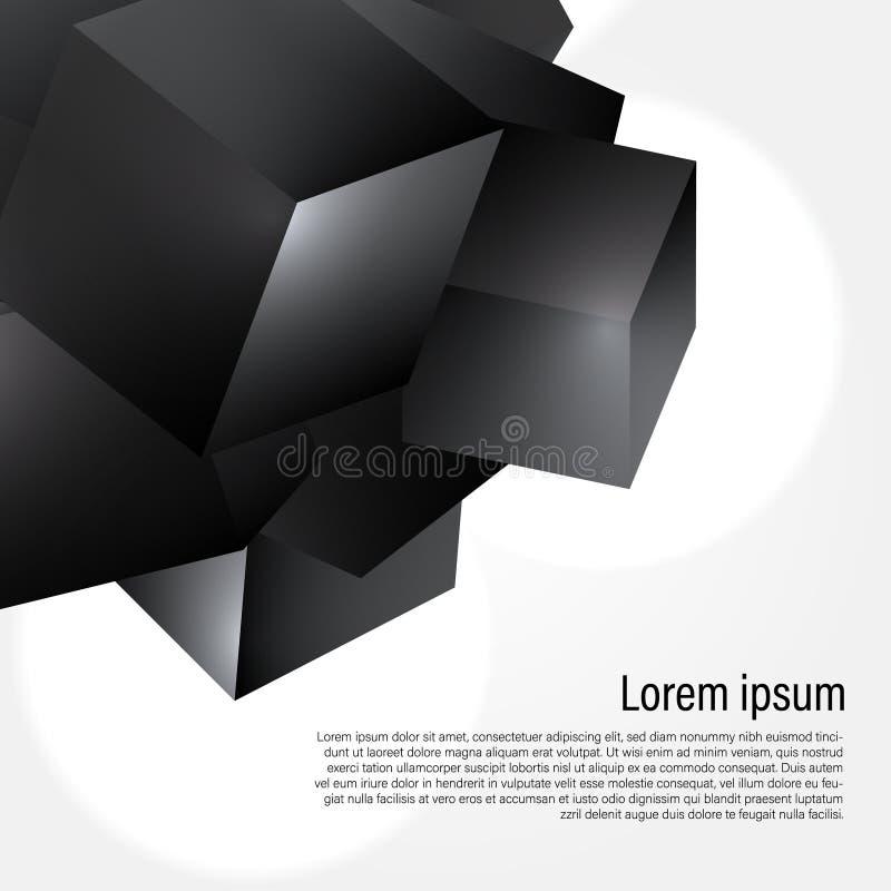 estructura cristalina poligonal geométrica del granito del cubo 3D para el fondo del diseño en la esquina libre illustration