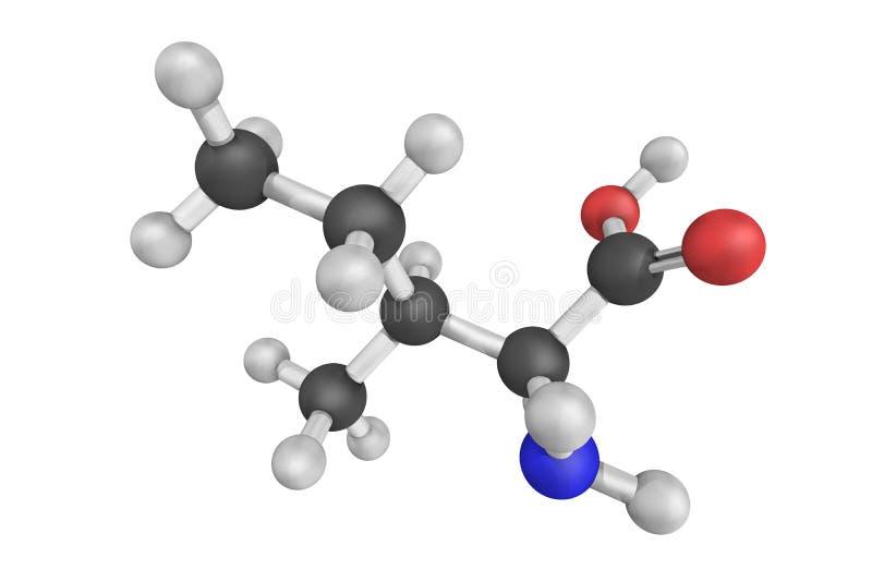estructura 3d de la isoleucina, un ácido alfa-amino libre illustration