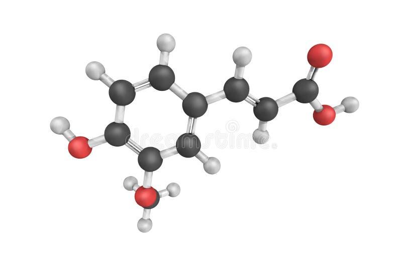 estructura 3d del ácido Ferulic, de un ácido hidroxicinámico y de un tipo libre illustration