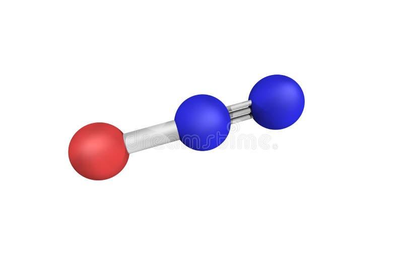 estructura 3d del óxido nitroso, conocida comúnmente como gas hilarante o fotos de archivo libres de regalías