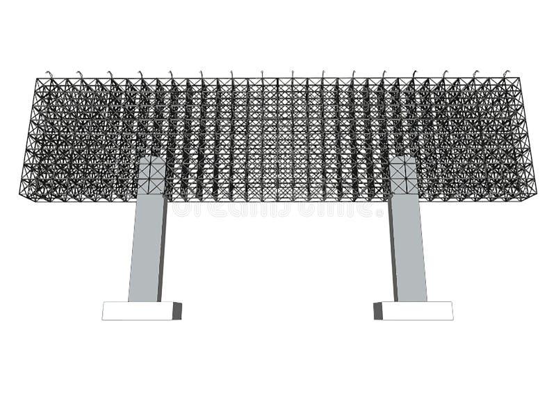 Estructura de acero en blanco de la cartelera de publicidad libre illustration
