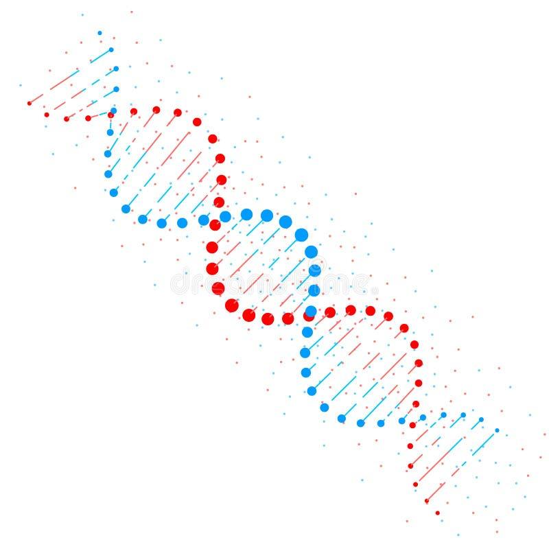 Estructura de cadena de la DNA del extracto aislada en el fondo blanco Concepto de la biotecnología Ilustración del vector ilustración del vector