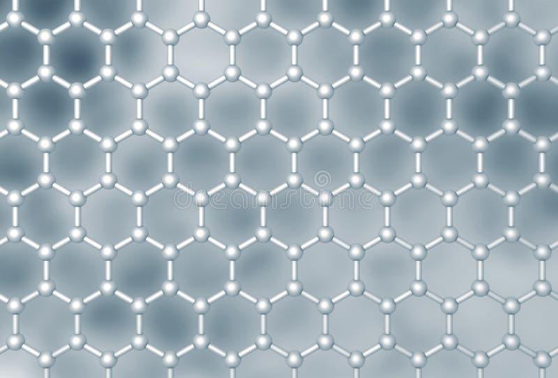 Estructura de capa molecular de Graphene stock de ilustración