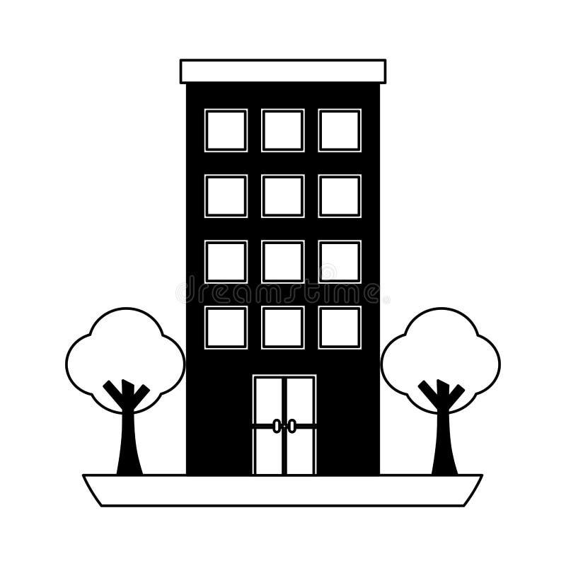 Estructura de edificio con el icono aislado plantas de los árboles ilustración del vector