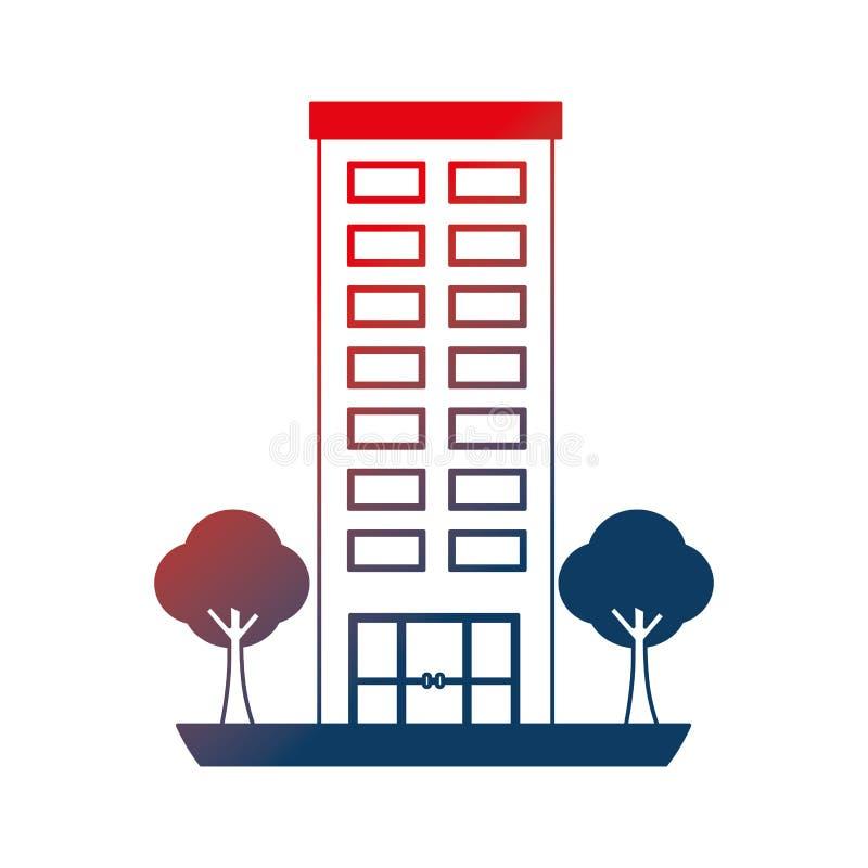 Estructura de edificio con el icono aislado plantas de los ?rboles ilustración del vector