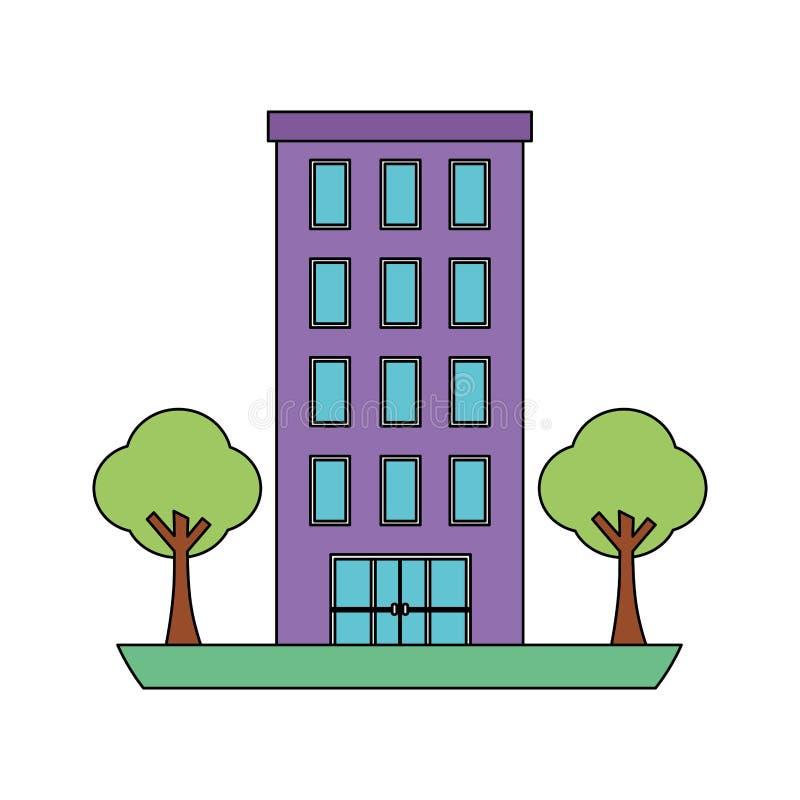 Estructura de edificio con el icono aislado plantas de los ?rboles libre illustration