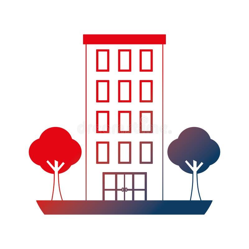 Estructura de edificio con el icono aislado plantas de los ?rboles stock de ilustración