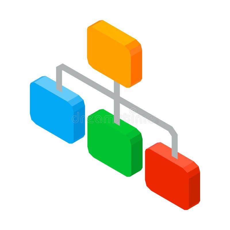 Estructura de elementos organizados, icono del esquema 3D de la red de la jerarquía ilustración del vector