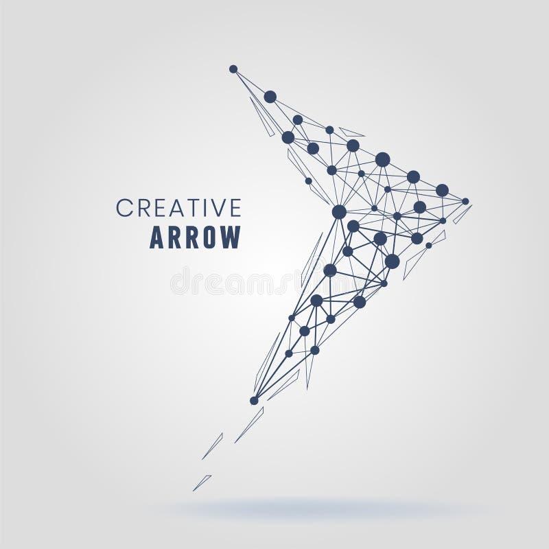 Estructura de la conexión de la flecha de Wireframe Espacio poligonal abstracto libre illustration