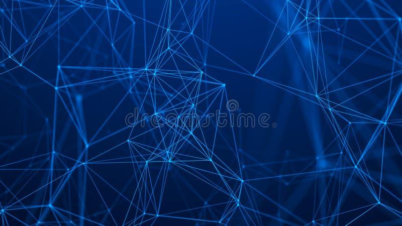 Estructura de la conexi?n de red Fondo abstracto de la tecnolog?a Fondo futurista representaci?n 3d ilustración del vector