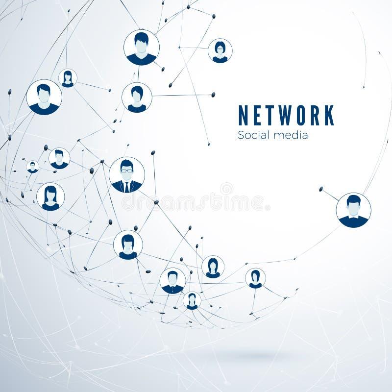 Estructura de la medios red social Conexión global Conexión de la sociedad del usuario Ilustración del vector libre illustration