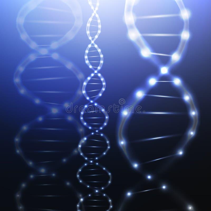 Estructura de la molécula de la DNA en fondo oscuro ciencia stock de ilustración