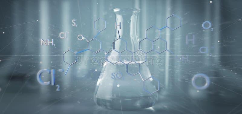 estructura de la molécula de la representación 3d aislada en un fondo médico stock de ilustración