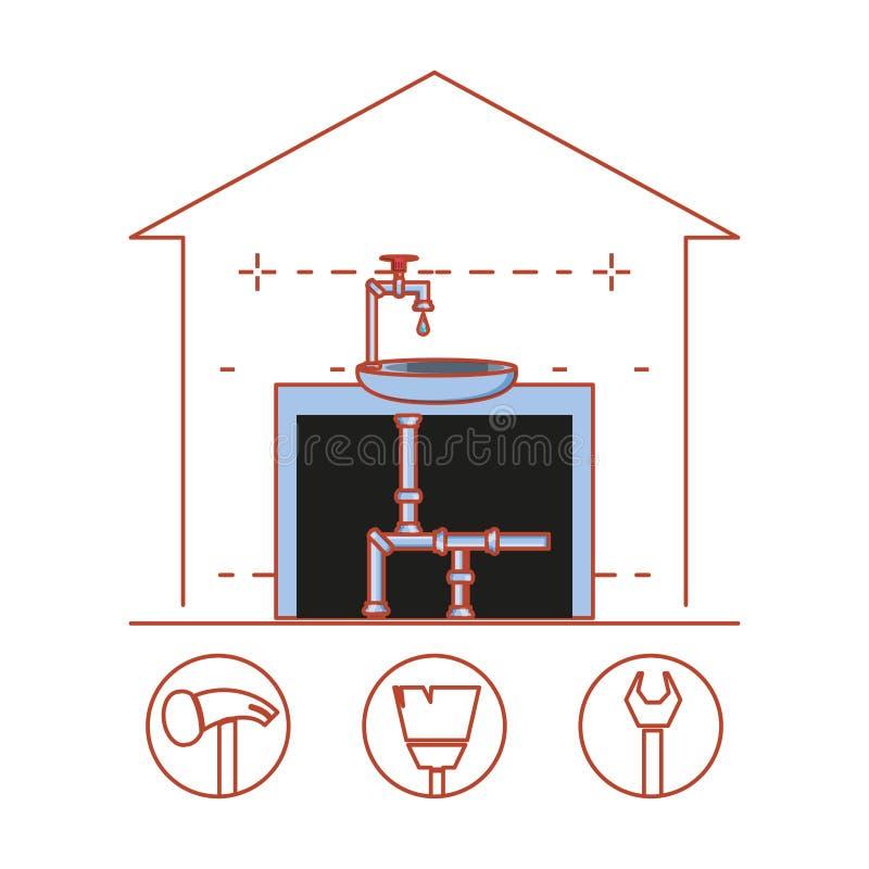 Estructura de la tubería de la casa con los iconos caseros de la reparación stock de ilustración