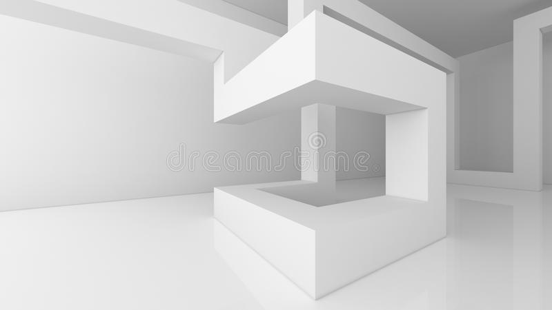 Estructura de las cajas blancas de la arquitectura en el fondo blanco en el emp libre illustration