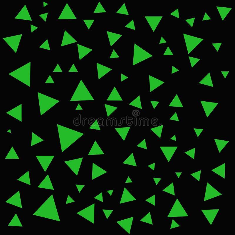 Estructura de los triángulos Triángulos en el contexto negro El verde abstracto forma el fondo libre illustration