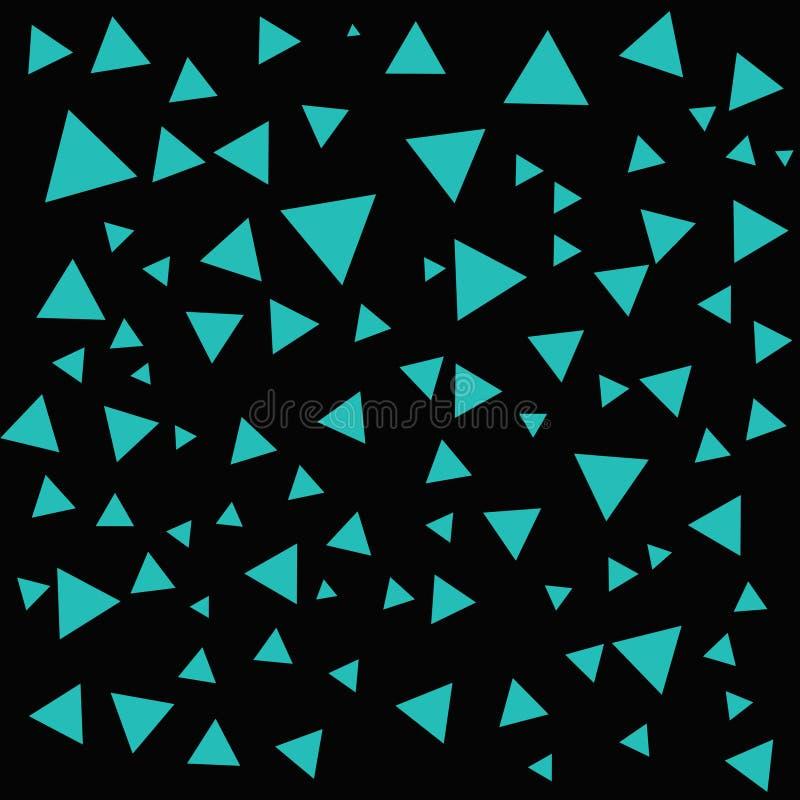 Estructura de los triángulos de la turquesa Triángulos en el contexto negro La turquesa abstracta forma el fondo ilustración del vector
