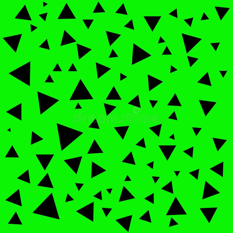 Estructura de mosaico negra geométrica Contexto negro abstracto de los triángulos Triángulo en el fondo verde ilustración del vector