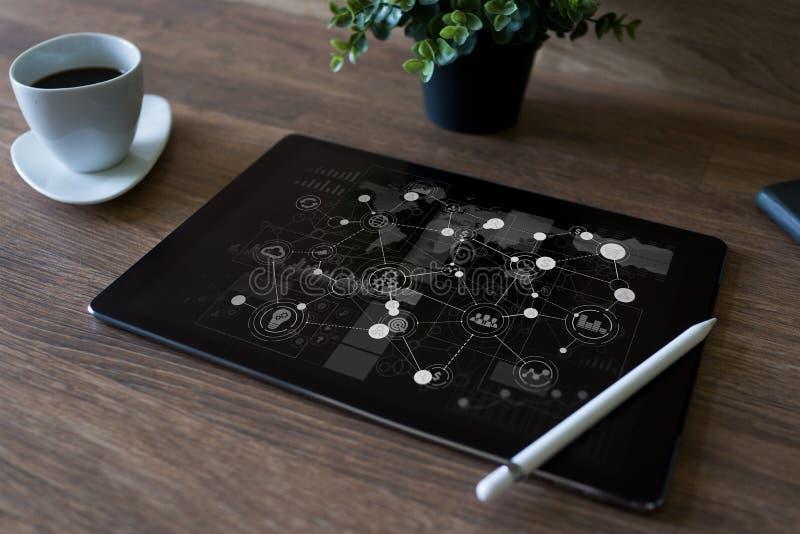 Estructura de organización del negocio, desarrollo de la estrategia, ERP - concepto del planeamiento del recurso de la empresa fotos de archivo